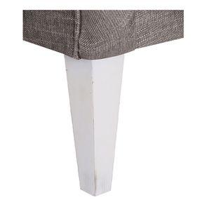 Fauteuil en hévéa blanc et tissu gris chambray - Oscar - Visuel n°7