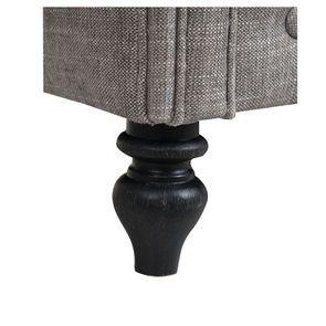 Fauteuil cabriolet en hévéa noir et tissu gris - Théodore - Visuel n°7