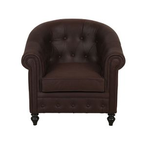 Fauteuil cabriolet en éco-cuir chocolat avec pieds noirs - Théodore