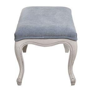 Banc ottoman en tissu velours bleu gris sans capitons - Gaspard - Visuel n°6