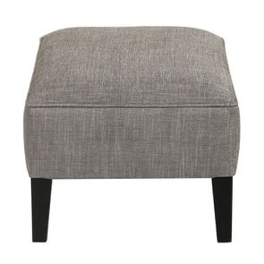 Pouf en frêne et en tissu gris chambray - Alfred - Visuel n°3