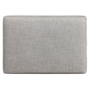 Pouf en frêne et en tissu gris sans capitons - Alfred - Visuel n°5