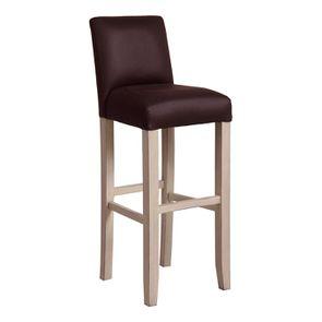 Chaise haute personnalisable en éco-cuir chocolat - Ariane - Visuel n°2