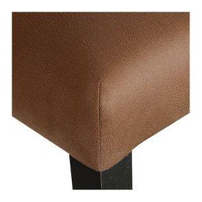 Chaise haute en hévéa noir et éco-cuir cognac - Visuel n°9