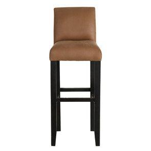 Chaise haute en hévéa noir et éco-cuir cognac - Ariane