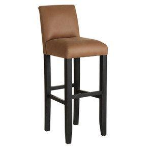 Chaise haute en hévéa noir et éco-cuir cognac - Visuel n°2