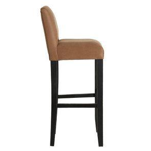 Chaise haute en hévéa noir et éco-cuir cognac - Visuel n°3