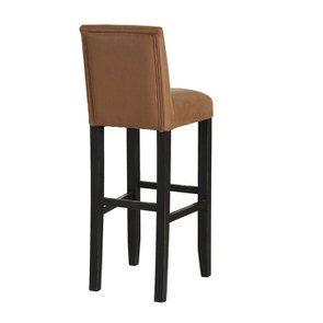 Chaise haute en hévéa noir et éco-cuir cognac - Visuel n°4