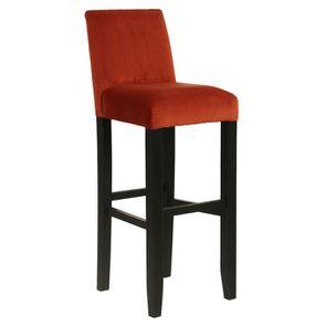Chaise haute en velours rouille et hévéa massif noir - Ariane - Visuel n°2