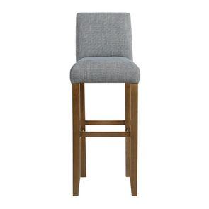Chaise haute en tissu bleu chambray et frêne massif - Ariane