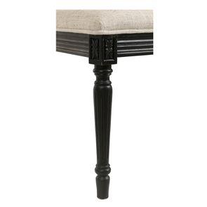 Chaise en tissu mastic grisé et hévéa massif noir - Honorine