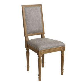 Chaise en tissu gris chambray - Honorine - Visuel n°2