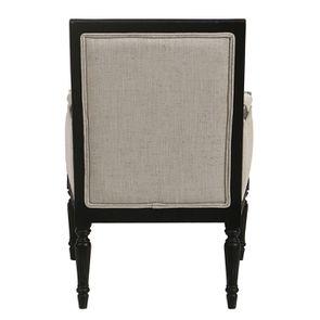 Fauteuil en tissu mastic grisé et hévéa noir - Honoré - Visuel n°5