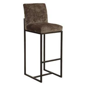 Chaise haute en velours bronze et métal - Lauren - Visuel n°3