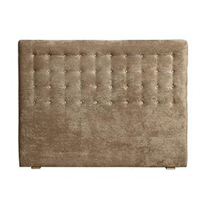 Tête de lit capitonnée 160 en hévéa et tissu velours taupe - Capucine