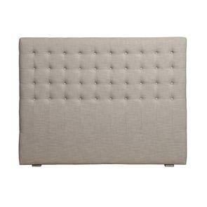 Tête de lit capitonnée 140/160 cm en hévéa et tissu beige - Capucine