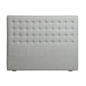 Tête de lit capitonnée 160 en hévéa et tissu bleu glacier - Capucine