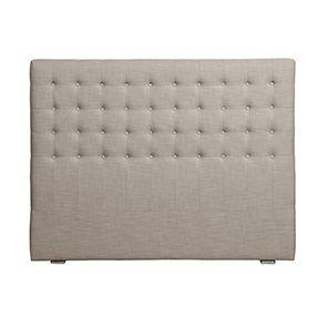 Tête de lit capitonnée 160 en hévéa et tissu beige - Capucine