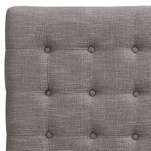 Tête de lit capitonnée 160 en hévéa et tissu gris chambré - Capucine