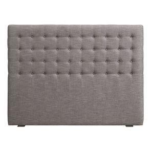 Tête de lit capitonnée 160 en hévéa et tissu gris chambray - Capucine