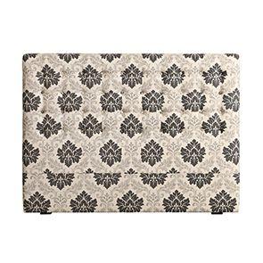 Tête de lit capitonnée 160 en hévéa noir et tissu arabesque - Capucine