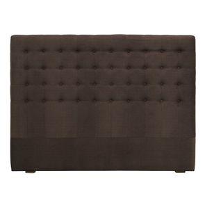 Tête de lit capitonnée 140/160 cm en frêne et tissu marron glacé - Capucine