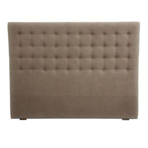 Tête de lit capitonnée 160 en frêne et tissu velours taupe - Capucine
