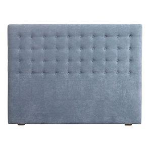 Tête de lit 140/160 cm en tissu effet velours bleu gris capitonné - Capucine
