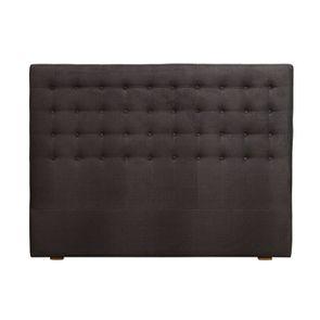 Tête de lit capitonnée 160 en frêne et tissu anthracite - Capucine - Visuel n°1