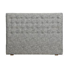 Tête de lit capitonnée 140/160 cm en frêne et tissu mosaïque indigo - Capucine