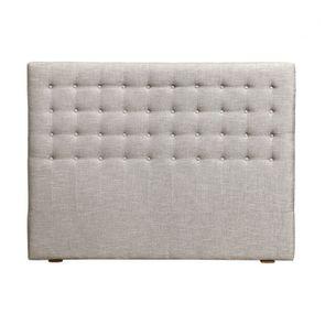 Tête de lit capitonnée 140/160 cm en frêne et tissu gris chambray - Capucine