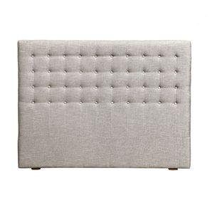 Tête de lit capitonnée 160 en frêne et tissu gris chambré - Capucine