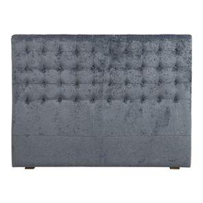 Tête de lit 140/160 cm en tissu velours bleu capitonné - Capucine