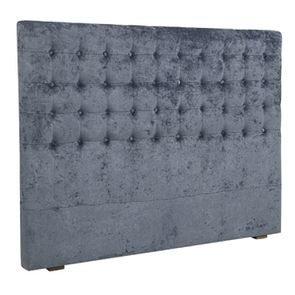 Tête de lit 140/160cm en tissu velours bleu capitonné - Capucine - Visuel n°2