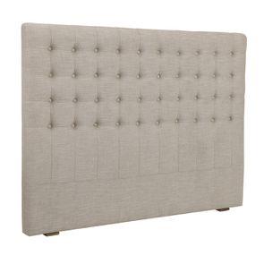 Tête de lit 140/160cm en tissu mastic grisé capitonné - Capucine - Visuel n°2