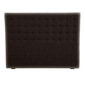 Tête de lit capitonnée 160 en frêne et tissu eco-cuir chocolat - Capucine