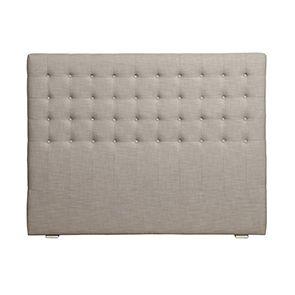 Tête de lit capitonnée 160 en hévéa et tissu lin beige - Capucine