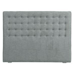 Tête de lit 140/160cm en tissu gris chambray capitonné - Capucine