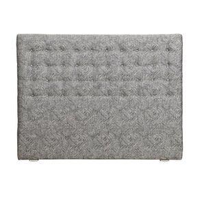 Tête de lit capitonnée 160 en hévéa et tissu mosaïque indigo - Capucine