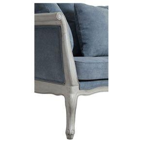 Banquette 3 places en hévéa gris argenté et tissu effet velours bleu gris - Léonie - Visuel n°3