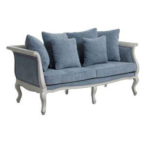 Banquette 3 places en hévéa gris argenté et tissu effet velours bleu gris - Léonie - Visuel n°2