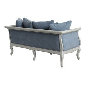 Banquette 3 places en hévéa gris argenté et tissu effet velours bleu gris - Léonie - Visuel n°7