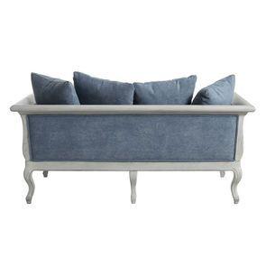 Banquette 3 places en hévéa gris argenté et tissu effet velours bleu gris - Léonie - Visuel n°8