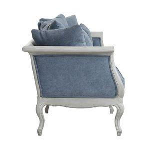 Banquette 3 places en hévéa gris argenté et tissu effet velours bleu gris - Léonie - Visuel n°5