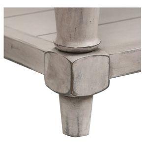 Banc en tissu gris chambray et hévéa massif gris argenté - Louison