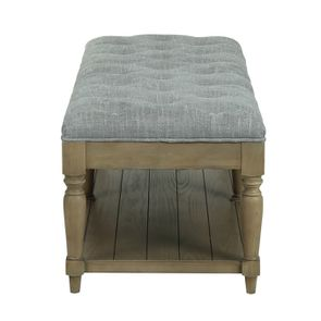 Banc en frêne et tissu gris chambray - Louison - Visuel n°3