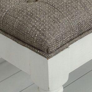 Banc en hévéa blanc et tissu losange gris - Louison - Visuel n°8