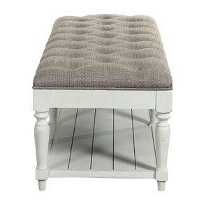 Banc en hévéa blanc et tissu losange gris - Louison - Visuel n°3