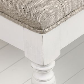Banc en tissu mastic grisé et hévéa massif blanc - Louison - Visuel n°25