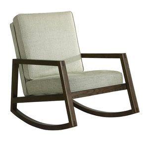 Rocking chair en tissu vert amande - Harold - Visuel n°2